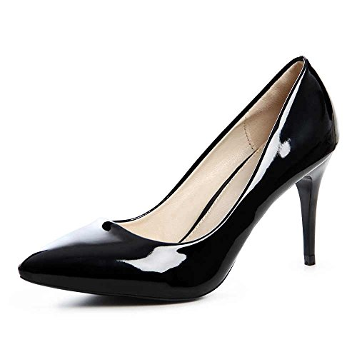 topschuhe24 715 Damen Pumps High Heels Lack Schwarz
