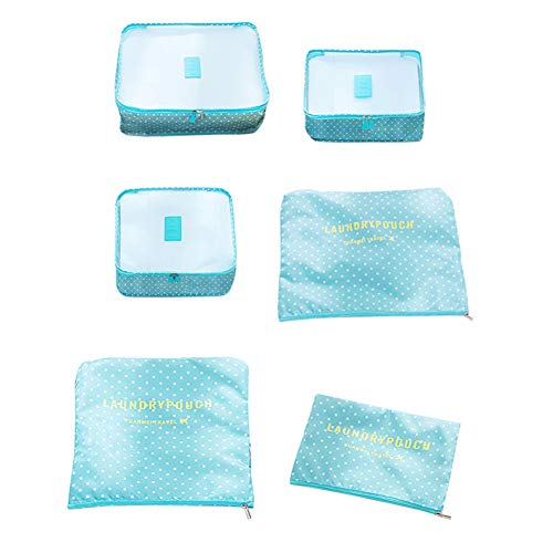 Imballaggio Borse Cubes Viaggi bagagli Trip Organizer bagagli sacchetti per vestiti blu del modello di puntino 6Pcs