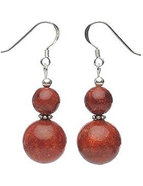 Ohrringe Ohrhänger Schaumkoralle Koralle & 925 Silber rot Ohrschmuck Damen