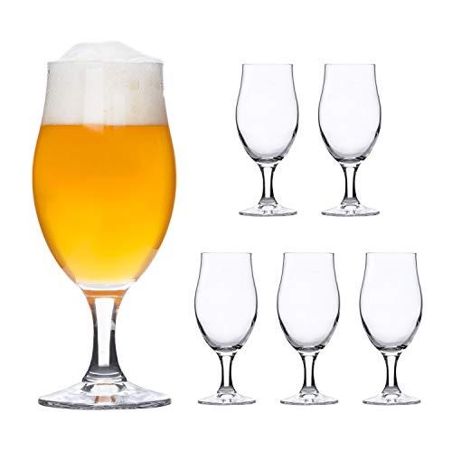 Bormioli Rocco | 6er-Set Bierglas Executive | 0.3L geeicht | edle Bier-Tulpe | Stiel-Gläser klar | Cocktail-Becher | Glas-Geschirr | Party-Kelche (Klar Party Becher)