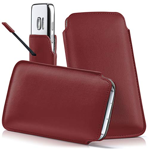 moex Samsung B2710 | Hülle Rot Sleeve Slide Cover Ultra-Slim Schutzhülle Dünn Handyhülle für Samsung B2710 Case Full Body Handytasche Kunst-Leder Tasche