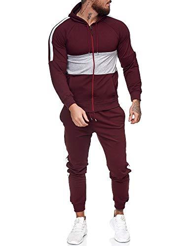 OneRedox | Herren Trainingsanzug | Jogginganzug | Sportanzug | Jogging Anzug | Hoodie-Sporthose | Jogging-Anzug | Trainings-Anzug | Jogging-Hose | Modell JG-1081 Bordeaux-Grau S