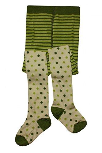Weri Spezials Baby-Meadchen Kinderstrumpfhose in Gruen Gr.86/92 (18-24 Monate) Ringel+Punkte Motiv