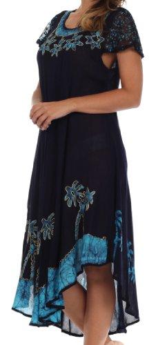Sakkas Robe Caftan Batik Palmier Mancherons / Robe de Plage Navy / Turquoise