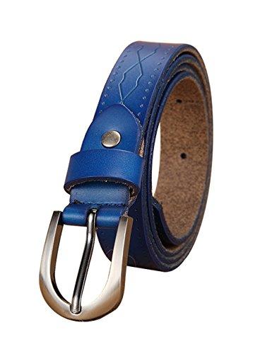 Womens Buff Leather Belt Center Bar Buckle Waist Strap 2.3cm 049 Blue