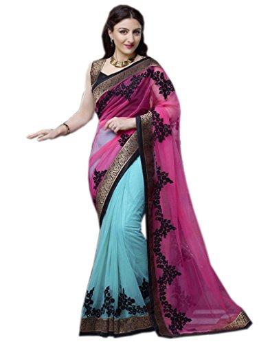 Shoppingover Net Saree (1462Hb_Blue)