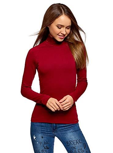 oodji Ultra Damen Rollkragenpullover Basic aus Baumwolle, Rot, DE 42 / EU 44 / XL -