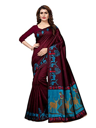 Kanchnar Women's Purple Art Silk Printed Saree