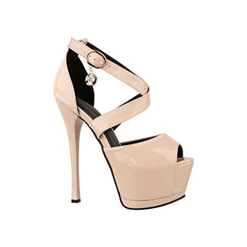 Elara Damen Pumps | Moderne Cut Out Stilettos | Peep-Toe High Heels | Chunkyrayan | TS6204-1 Nude-38
