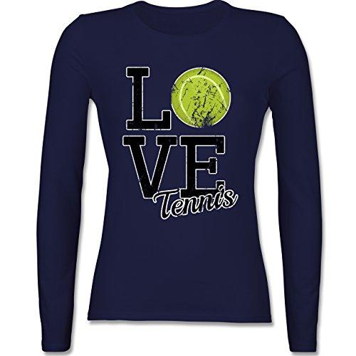 Tennis - Love Tennis - tailliertes Longsleeve / langärmeliges T-Shirt für Damen Navy Blau