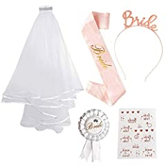 Idea Regalo - SPECOOL Sposa di Essere Bride to Be Satin Sash And Veil di Addio al Nubilato Gadget Sposa Fascia Tatuaggi Gallina Do Accessori per Addio al Nubilato Decorazione per Addio al Nubilato (Rose Gold 1)
