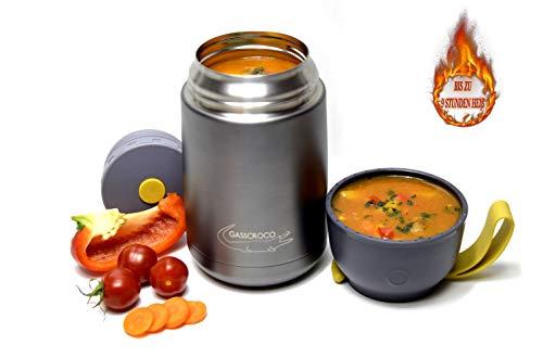 GASSCROCO - Thermobehälter 650ml - Lunchbox Food Jar - Edelstahl Warmhaltebox für Essen, Babynahrung, Camping