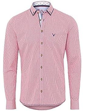Pure Moser Trachten Trachtenhemd Langarm Rot Karo-Blau Slimfit 112540 von, Material Baumwolle, Liegekragen