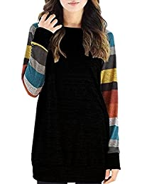 Chemise Femme Hiver Casual Lâche Rayures Tricot Tee shirt Manches Longues Coton Top Blouse Pull Tunique Mode