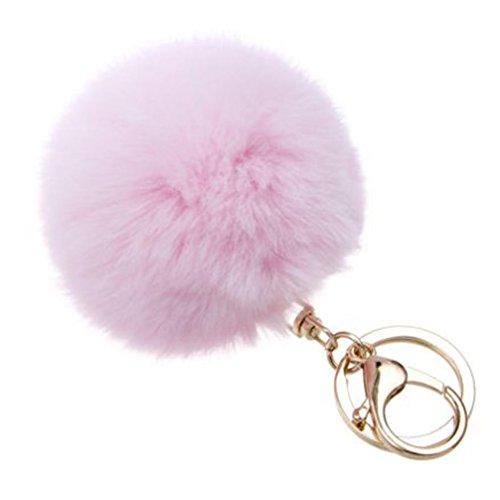 BZLine® Schlüsselanhänger für Auto Pom Pom Tasche Anhänger Charm (Pink)