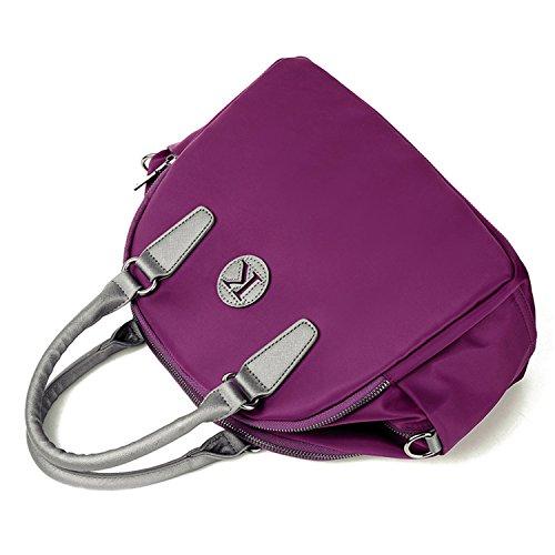 Young & Ming - Donna Female Nylon Handbag Borse a spalla Tote Shouder Bag con tracolla materiale impermeabile viola