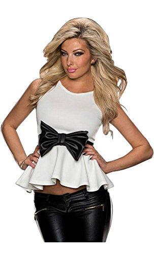 Mela Proibita - Sexy top donna BLU FUCSIA BIANCO con fiocco senza maniche cerimonia peplum sexi Bianco