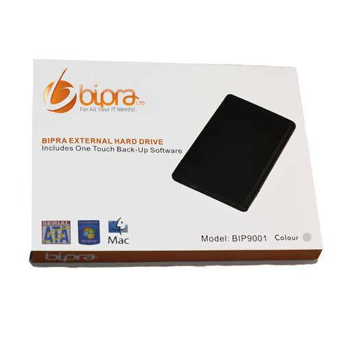 Bipra 500 GB 6,3 cm USB 2.0 FAT32 Portable Externe Festplatte mit One Touch Backup Software - Silber