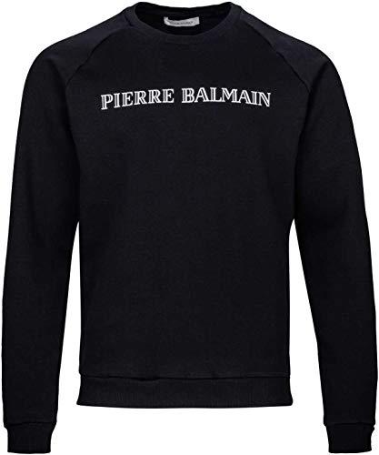 Pierre Balmain Herren Pullover Sweatshirt Logo Sweat-Shirt Men, Farbe: Schwarz, Größe: 54