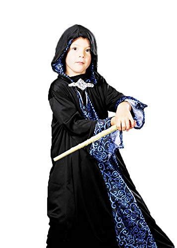 Magic Box Int. Merlin Black Wizard Robe Kostüm für Kinder Small (3-5yrs) (Boxen Kostüm Robe)