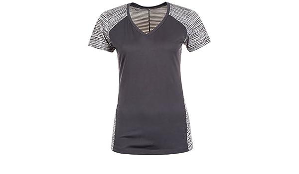 ASICS fuzeX V Neck T Shirt Kurzarm Laufshirt Damen Grau