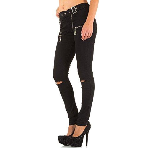 Damen Jeans, DESTROYED HIGH WAIST ZIPPER SKINNY JEANS, KL-J-E1684 Schwarz