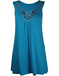 New Ladies Long Beaded Diamante Sleeveless T-Shirt Tops Womens Scoop Neck Stud Bead Vest Top Plus Size