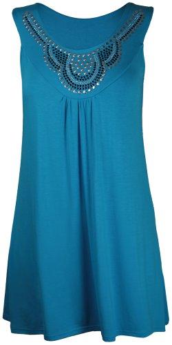 Purple Hanger - Débardeur Tunique T-shirt Long Femme Encolure Ronde Perles Clous Strass Sans Manche Grande Taille Neuf Turquoise
