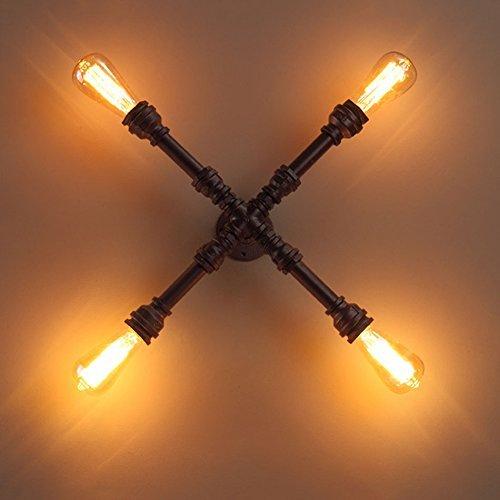 Retro-dampf-bügeleisen (KYDJ Vintage Industrial 4 Lampe Dampf Land Wasserleitung Wandleuchte, rustikale Vintage Restaurant/Bar Cafe Rost rustikale Wandleuchte)