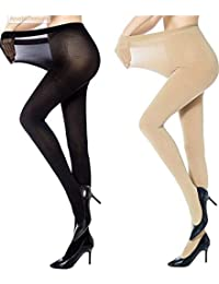 K's Creations Women's Nylon Panty Hose Long Exotic Stockings Tights (kss01, Black, and Skin, Free Size) - Pack of 2