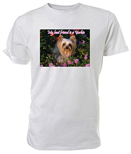 Maglietta, soggetto Yorkshire Terrier, My Best Friend è un cucciolo Nero (bianco)