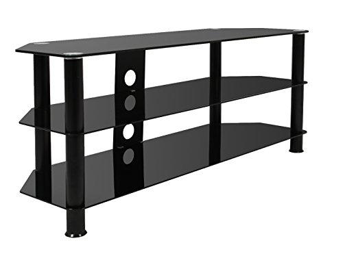 Mountright Klarglas-Fernsehtisch für 81,3bis 152,4cm (105cm breit) LED, LCD und Plasma-Fernseher (Alle schwarz)