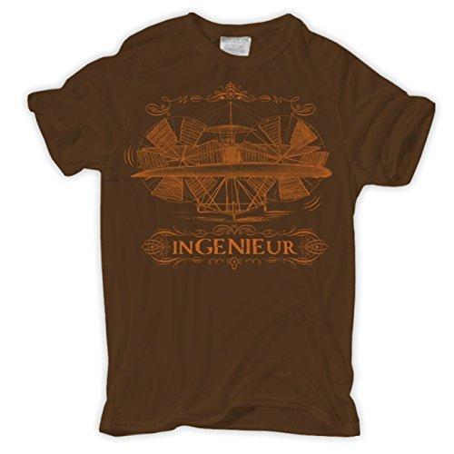 Männer und Herren T-Shirt Ingenieur Braun