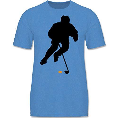 Sport Kind - Eishockey Spieler - 152-164 (12-14 Jahre) - Blau meliert - F140K - Jungen T-Shirt