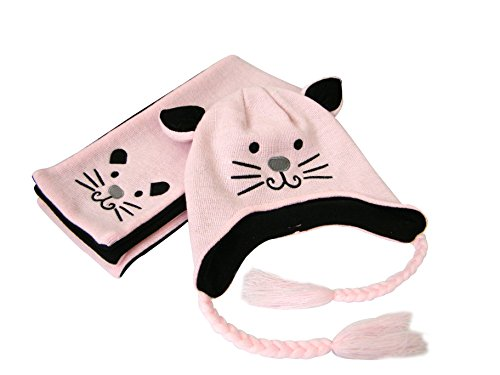 Kinder Winter Mütze Schal, Warme Baby Kleinkinder Mädchen Jungen Strickmützen Haube Kapuze Schal Hüte mit Niedlich Katze (Schal Mit Hut Katze)