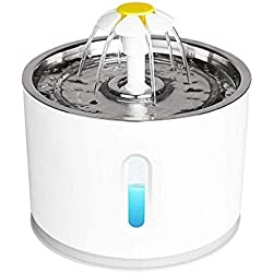 JFUNE Fontaine d'eau Potable pour Chats, Fontaine pour Animaux de Compagnie pour Chiens avec arrêt Automatique de la Pompe à Eau et du Niveau d'eau avec Voyant