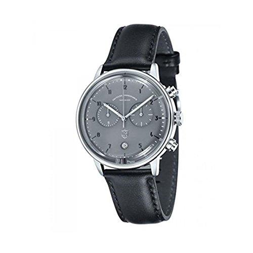 DuFa Unisex Chronograph Quarz Uhr mit Leder Armband DF-9003-08