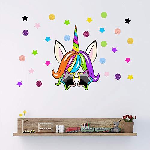 Persönlichkeit Kreative Sonnenbrille Einhorn Wandaufkleber Wohnzimmer Schlafzimmer Shop Dekoration Wandaufkleber