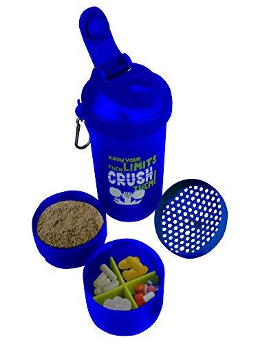 Kunststoff-Fitness-Studio Wasserflasche mit 3-Schicht Twist und Lock-Speicher / blaue Farbe / 600ml, Gym Sport Shaker Bottle, Ostern Tag / Muttertag / Karfreitag Geschenk (Pille Nehmen-cup)