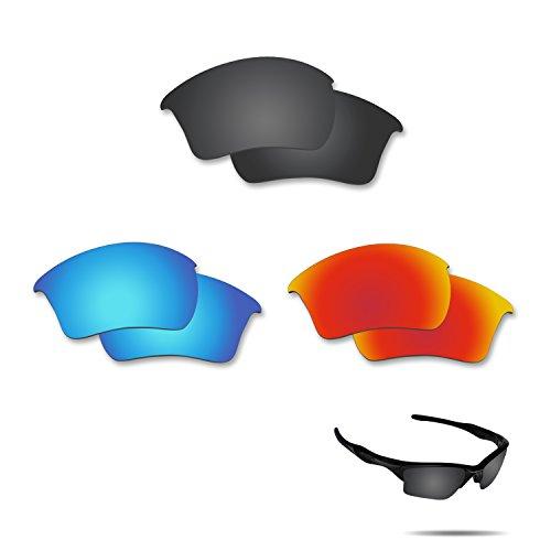 fiskr anti-saltwater Polarisierte Ersatz Gläser für Oakley Half Jacket 2.0XL 3Paar Pack, Stealth Black & Fire Red & Ice Blue