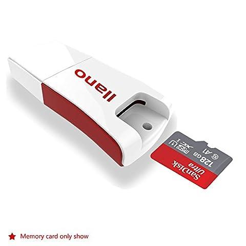 Lecteur de cartes, Zedela USB 2.0 Card Reader à double slot pour Micro SD/Micro SDHC/Micro SDXC à haute vitesse Windows 10/8.1/8/7/Vista/XP, Mac OS, Linux -Blanc
