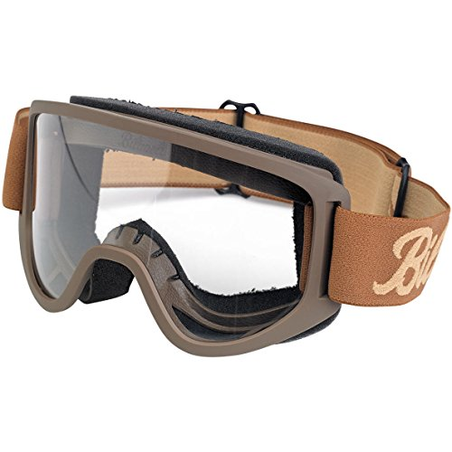 Occhiali Goggle Biltwell Moto 2.0 Script Chocolate/Sand Marrone Sabbia Lente Trasparente Fascia Elastica Stile Cafè Racer Bik