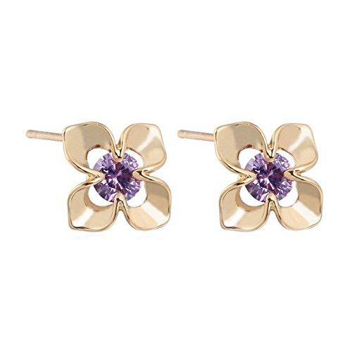 Boucles d'oreilles fleur oxyde de zirconium plaqué or Violet