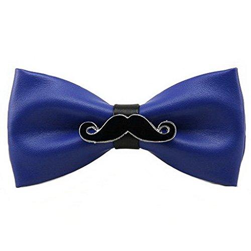 UKERDO Hombres PU Cuero Hecho a Mano Corbata de Moño Barba Pajarita Aniversario Boda (E)