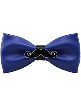 UKERDO Hombres PU Cuero Hecho a Mano Corbata de Moño Barba Pajarita Aniversario Boda
