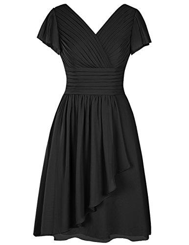 Dresstells Robe de demoiselle d'honneur en mousseline col en V manches courtes longueur genou Noir