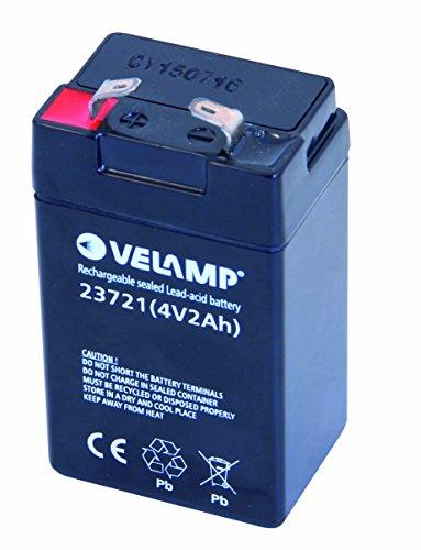 VELAMP 23721 Batteria Ricaricabile Piombo, Attacchi Faston, 4V, 2 Ah, Nero