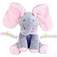 muxuan Flappy Elephant Plush Soft Toys Peek A Boo Pal Animated Sound Toys Baby Kids Children Doll Christmas Birthday Gift