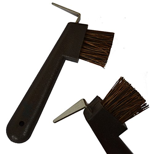 Animalon Naturborsten Hufkratzer mit Bürste | Ergonomischer Hufkratzer für Pferde | 2 in 1 Hufauskratzer in braun für die Pferde-Hufpflege