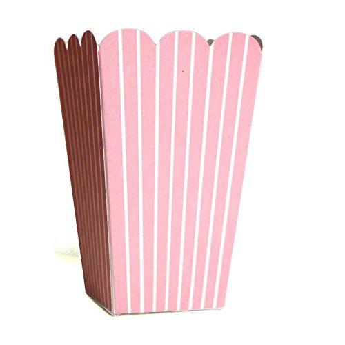 10 Fröhliche Rosa Weiß gestreifte Popcorn-Schachteln
